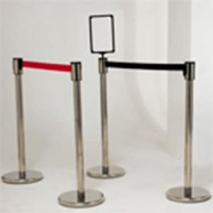 Stainless Steel Barrier Post Black Belt (1Post&Belt)